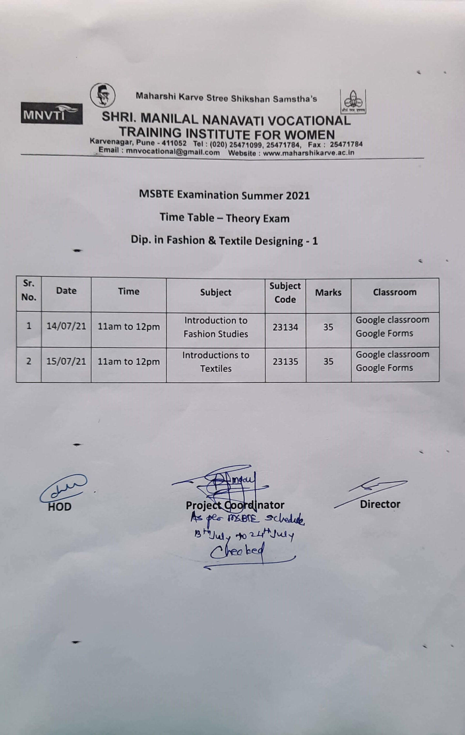 Summer Theory Exam: MNVTI is a Vocational Skills College